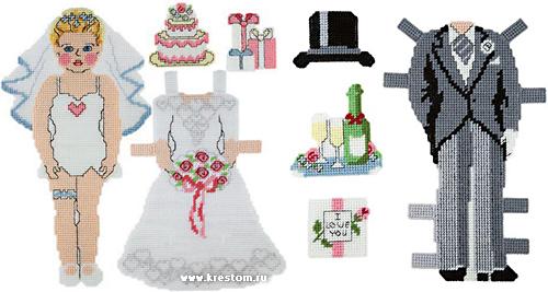 куклы-одевалки из пластиковой канвы
